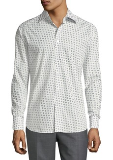 Brioni Men's Long-Sleeve Regular-Fit Printed Shirt  White/Blue