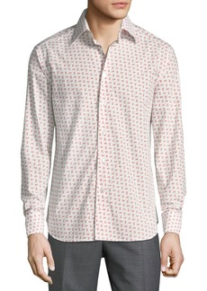 Brioni Men's Long-Sleeve Regular-Fit Printed Shirt  White/Red