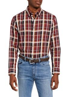 Brioni Men's Madras Plaid Cotton-Linen Sport Shirt