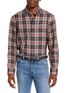 Brioni Men's Madras Plaid Linen Sport Shirt