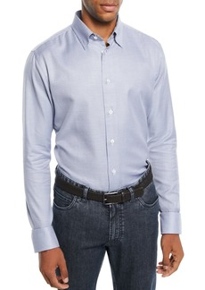 Brioni Men's Mini Check Cotton Sport Shirt