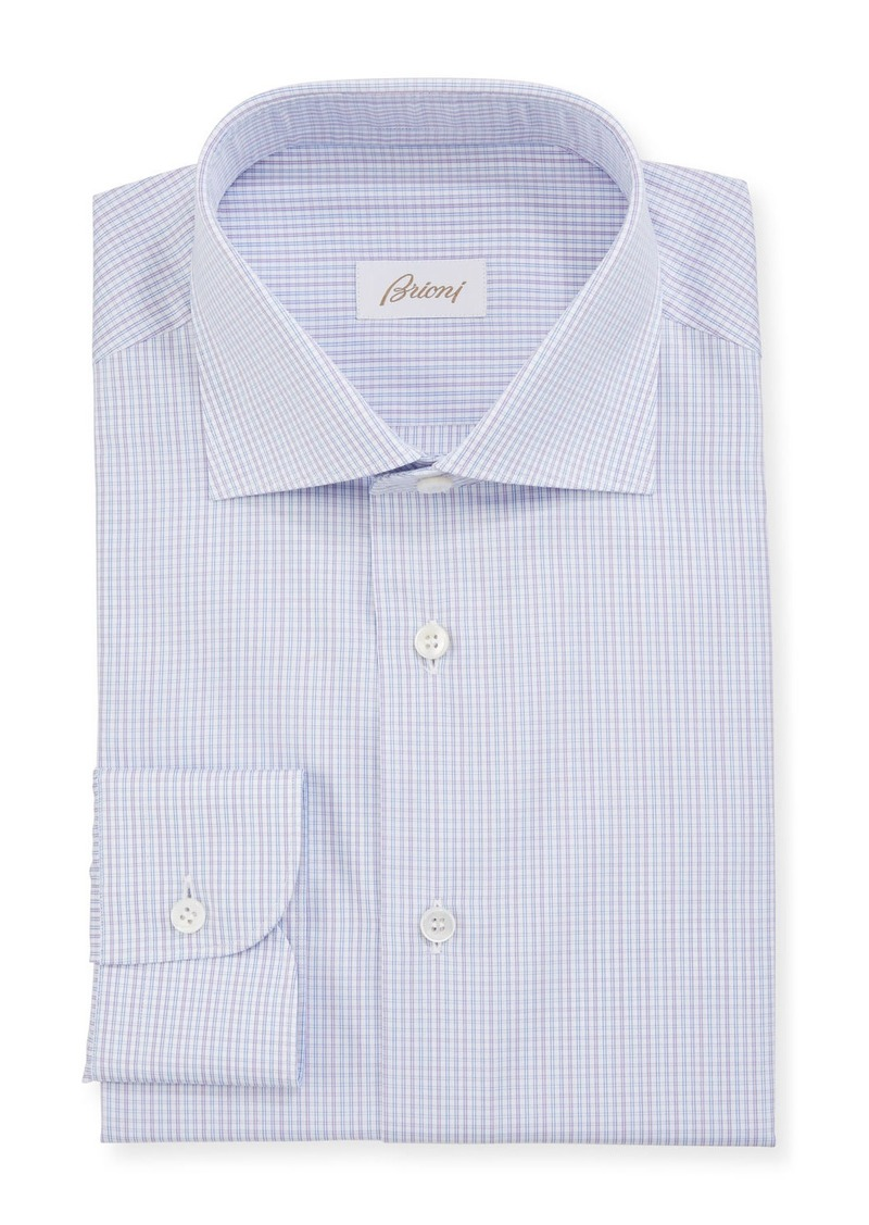Brioni Men's Mini Graph Check Dress Shirt