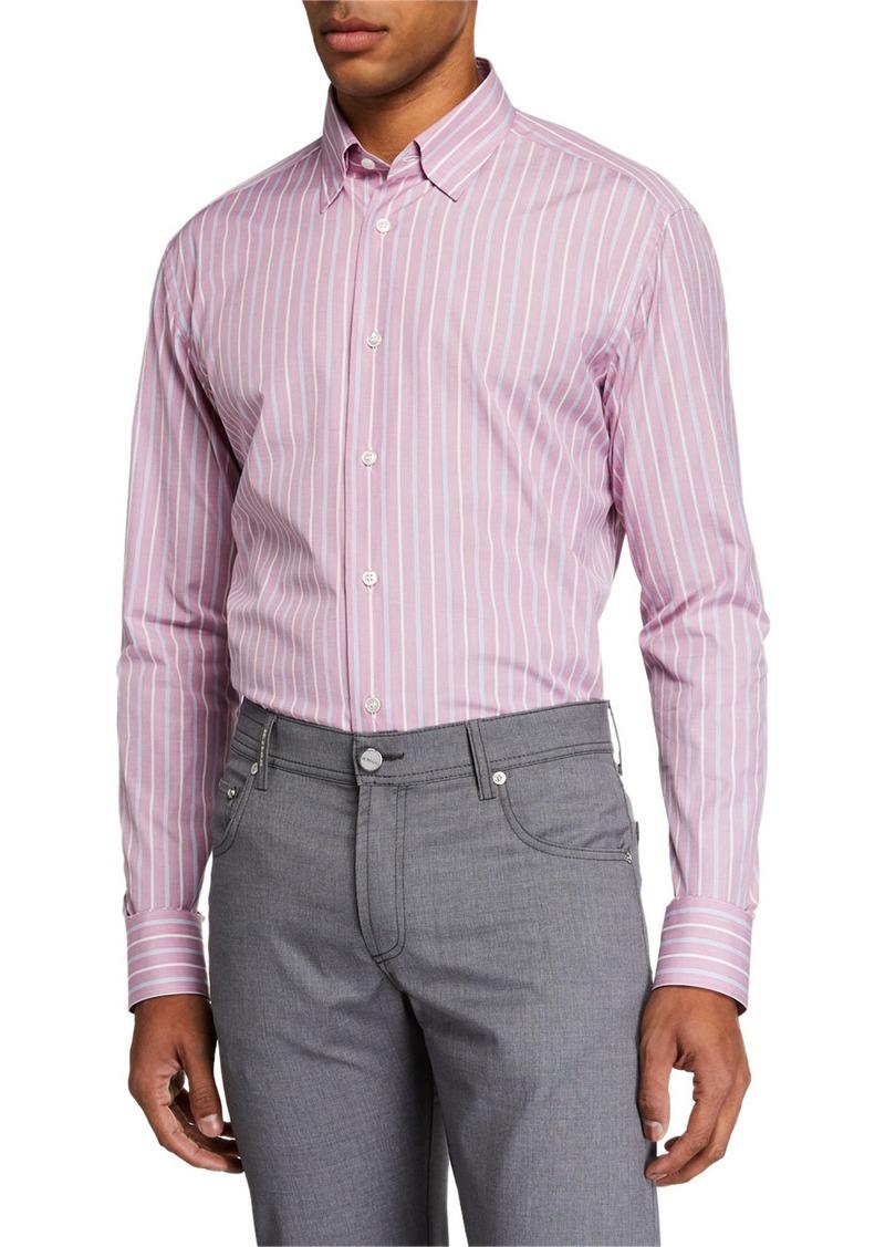 Brioni Men's Multi-Stripe Long-Sleeve Dress Shirt