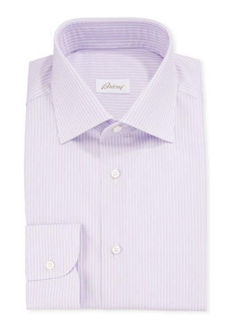 Brioni Men's Narrow-Stripe Cotton/Silk Dress Shirt