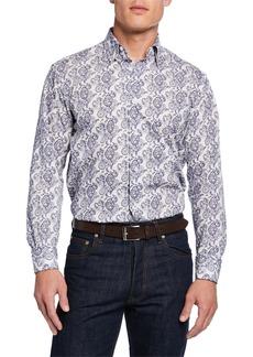 Brioni Men's Paisley-Print Cotton Sport Shirt