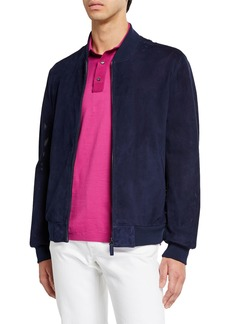 Brioni Men's Perforated Suede Bomber Jacket