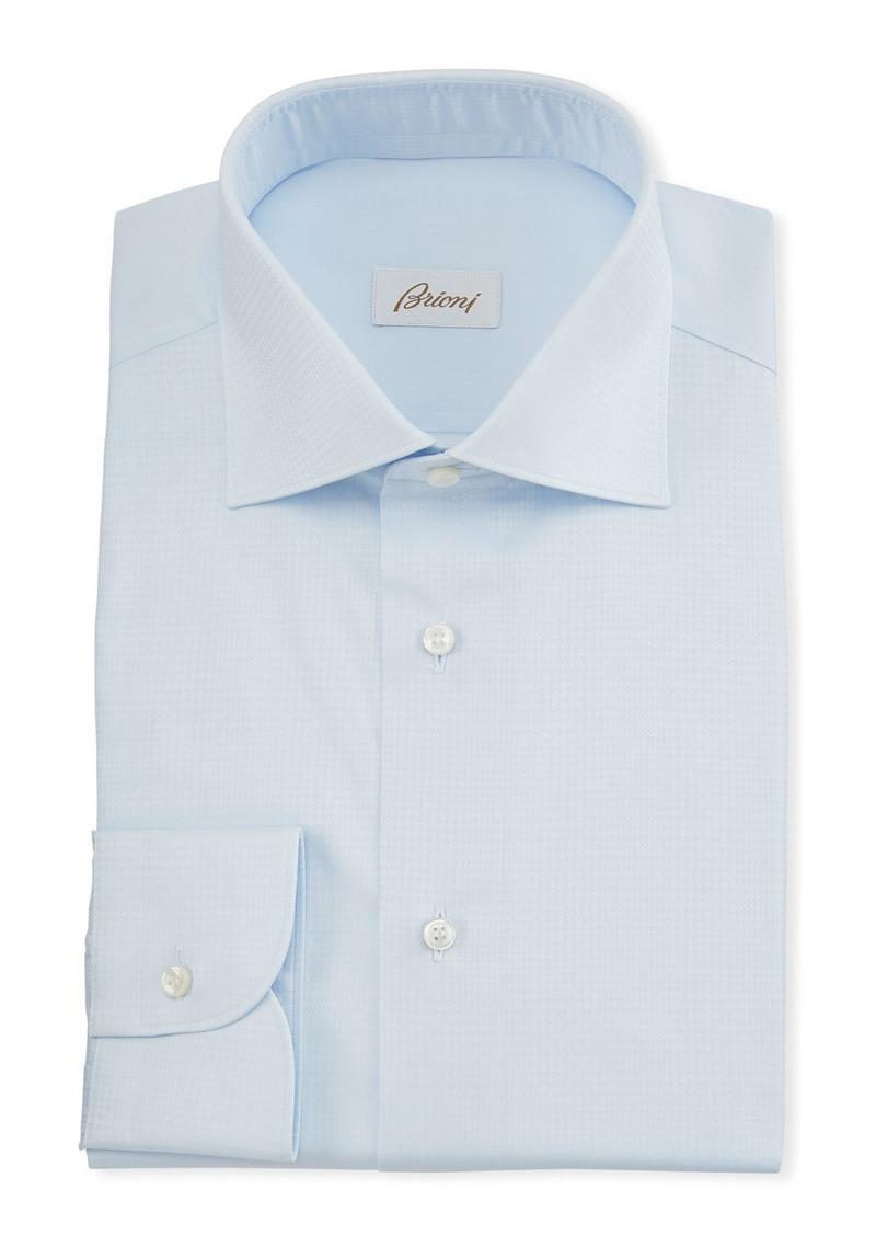 Brioni Men's Plaid Jacquard Dress Shirt