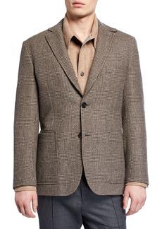 Brioni Men's Plaid Patch-Pocket Two-Button Jacket
