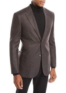 Brioni Men's Plaid Wool-Silk Blazer