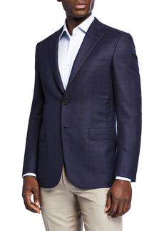 Brioni Men's Plaid Wool-Silk Two-Button Jacket