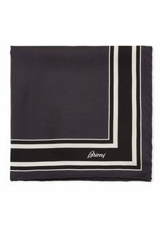 Brioni Men's Regimental Stripe Silk Pocket Square