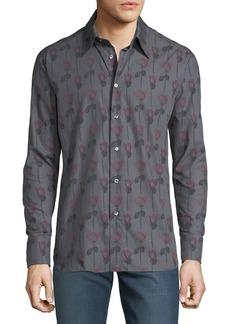 Brioni Men's Regular Fit Long-Sleeve Rose Printed Sport Shirt