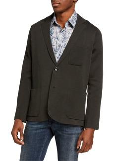 Brioni Men's Solid Silk-Cotton Knit Blazer