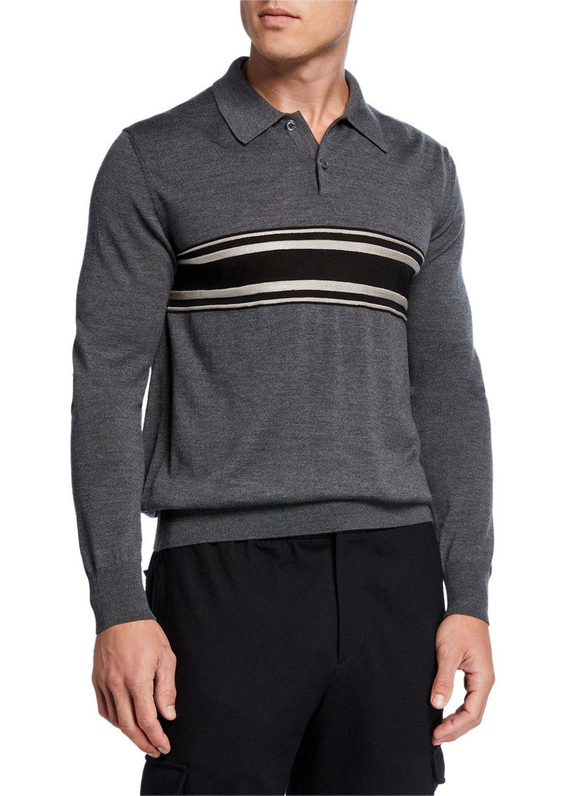 Brioni Men's Striped Virgin Wool-Cashmere Polo Shirt