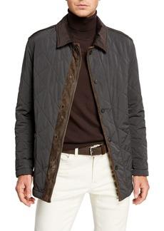 Brioni Men's Suede-Trim Quilted Jacket
