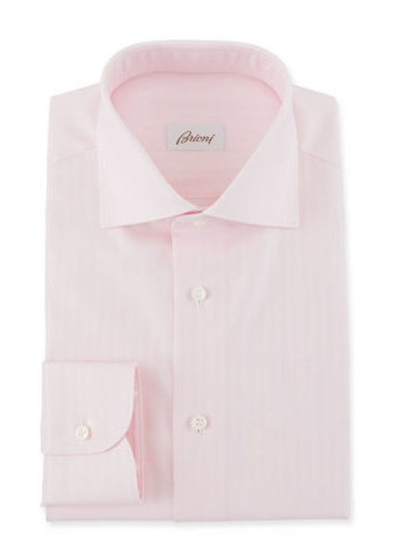 Brioni Men's Textured Stripe Dress Shirt