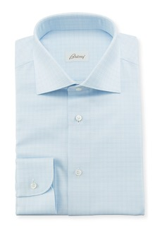 Brioni Men's Tonal Graph Check Dress Shirt