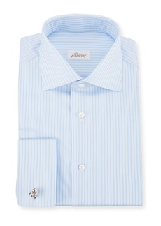 Brioni Men's Tonal-Stripe French-Cuff Dress Shirt
