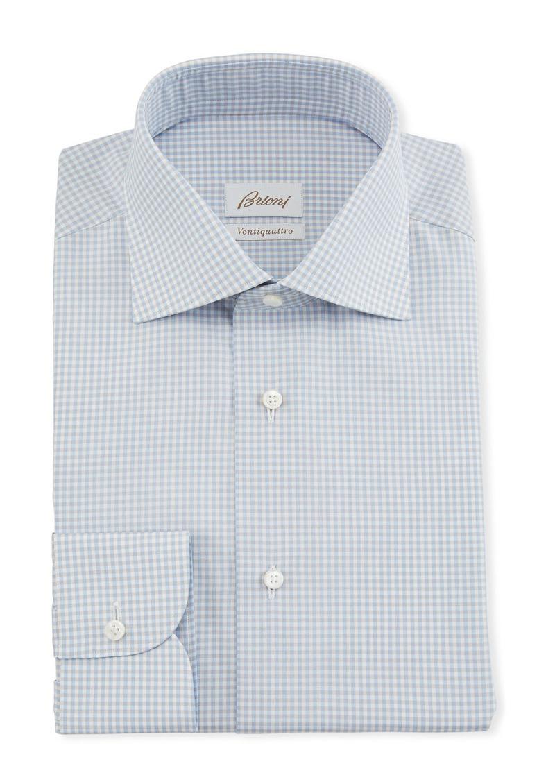 Brioni Men's Ventiquattro Gingham Dress Shirt