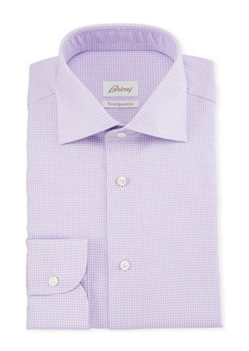 Brioni Men's Ventiquattro Houndstooth Check Dress Shirt