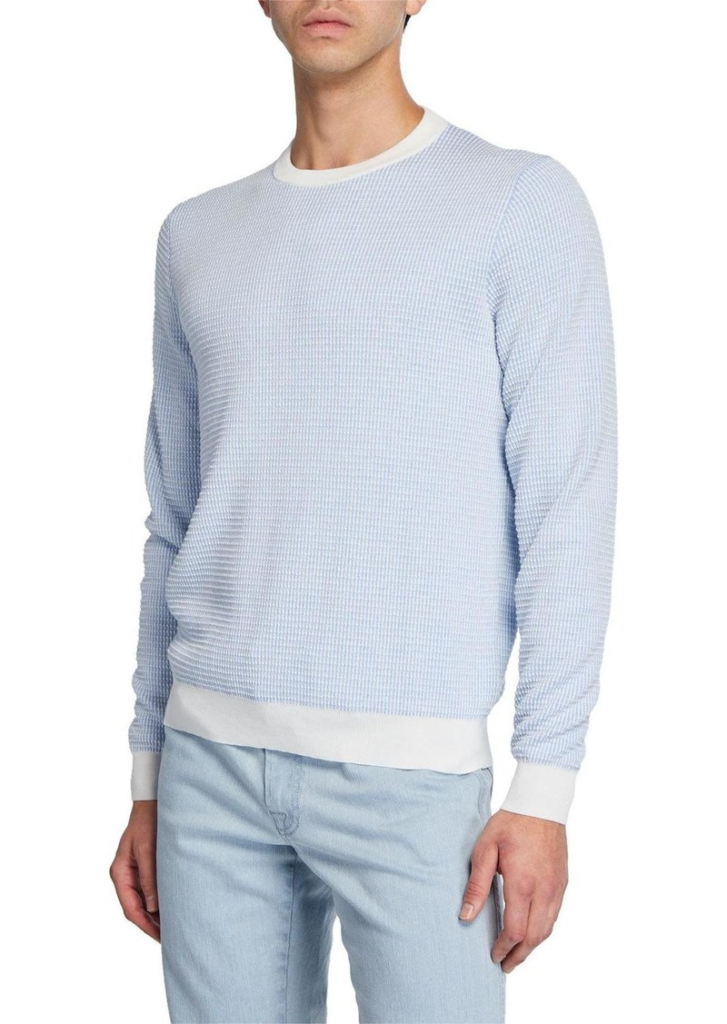 Brioni Men's Waffle-Knit Cotton Sweater