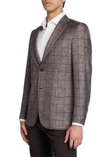 Brioni Men's Windowpane Two-Button Jacket