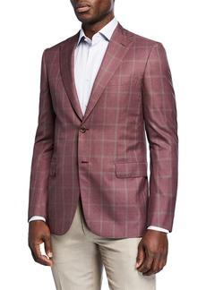 Brioni Men's Windowpane Wool-Silk Two-Button Jacket