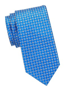 Brioni Mixed Circle-Print Silk Tie
