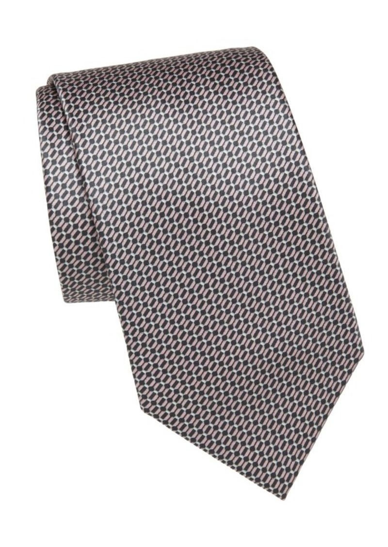 Brioni Oval Bar-Print Silk Tie