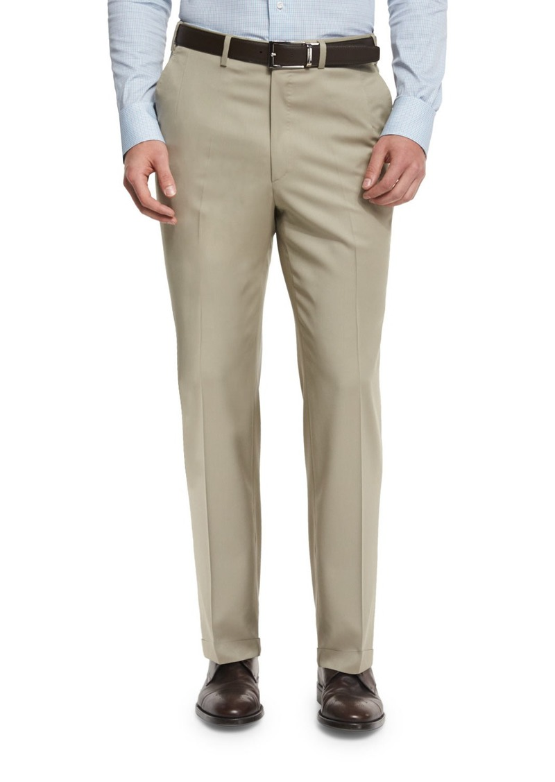 Brioni Phi Flat-Front Solid Wool Trousers  Tan