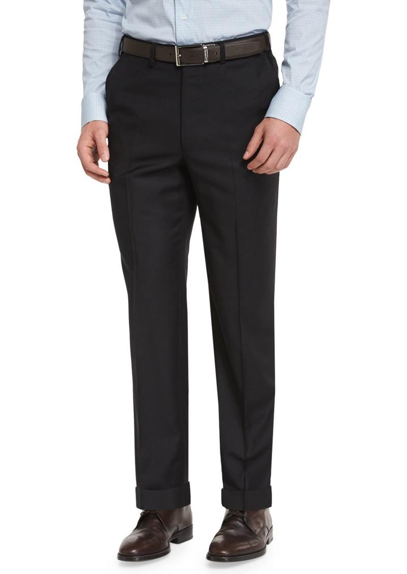 Brioni Phi Flat-Front Wool Trousers  Black