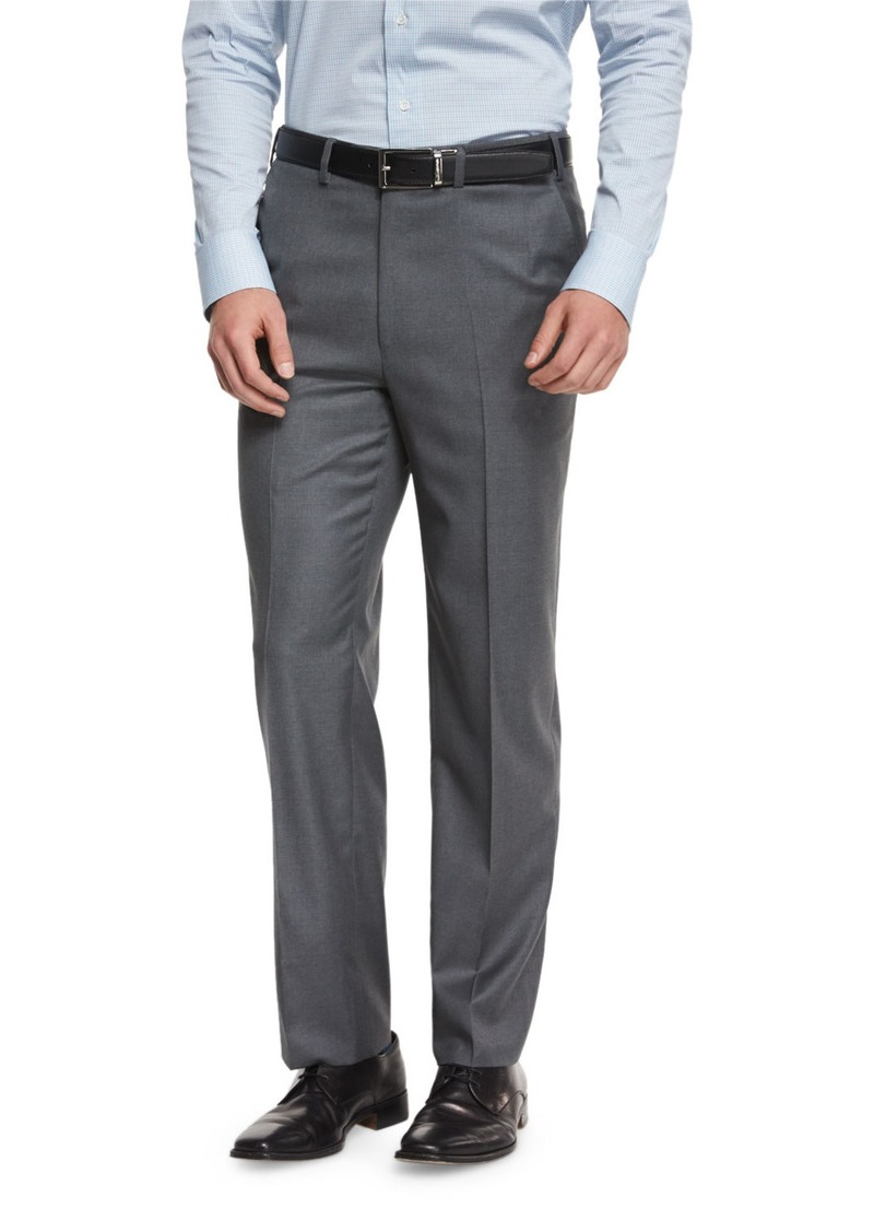 Brioni Phi Flat-Front Wool Trousers  Gray