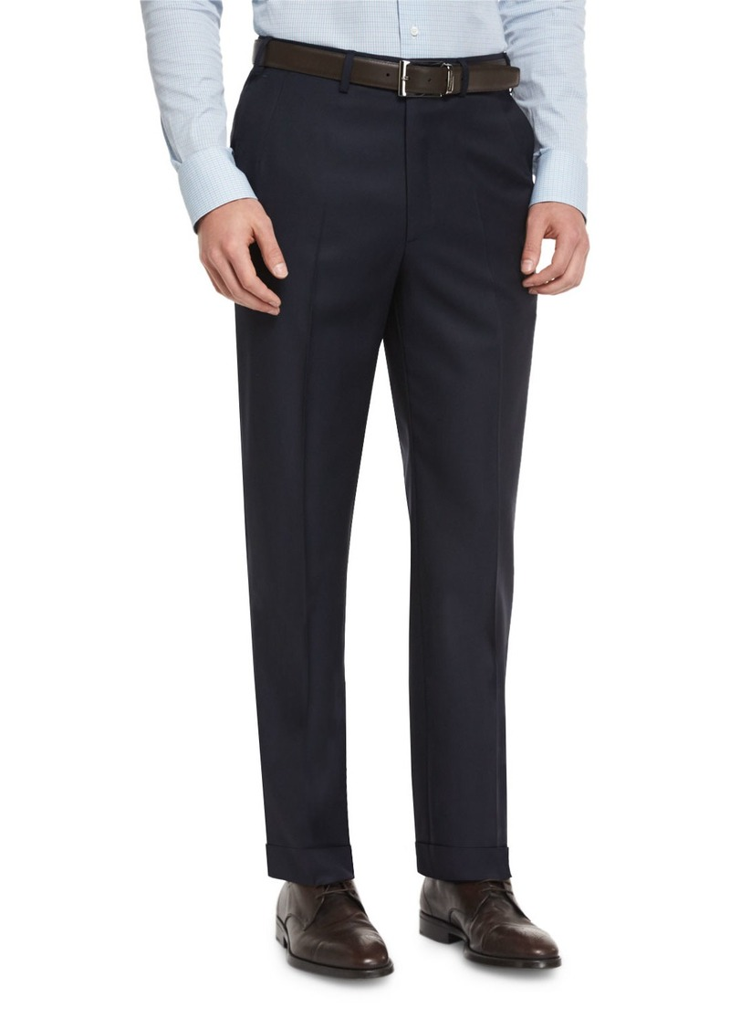 Brioni Phi Flat-Front Wool Trousers  Navy