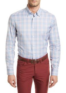 Brioni Plaid Long-Sleeve Shirt  Light Blue