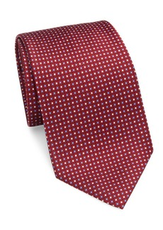 Brioni Printed Box Grid Silk Tie