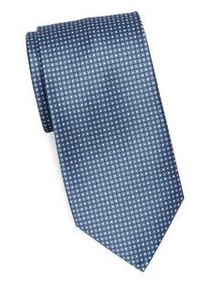 Brioni Printed Box Grid Silk Tie