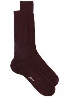 Brioni ribbed wool-blend logo socks