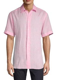 Brioni Short-Sleeve Linen Shirt