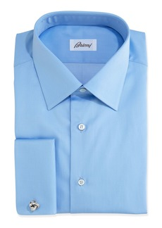 Brioni Solid French-Cuff Dress Shirt  Blue
