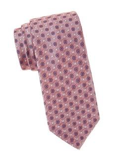 Brioni Square Medallion Print Silk Tie