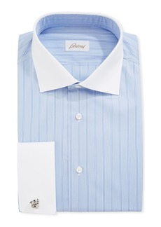 Brioni Striped Dress Shirt with Contrast Collar & French Cuffs