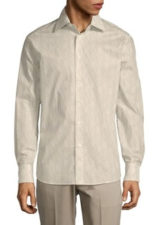 Brioni Tonal-Print Cotton Button-Down Shirt