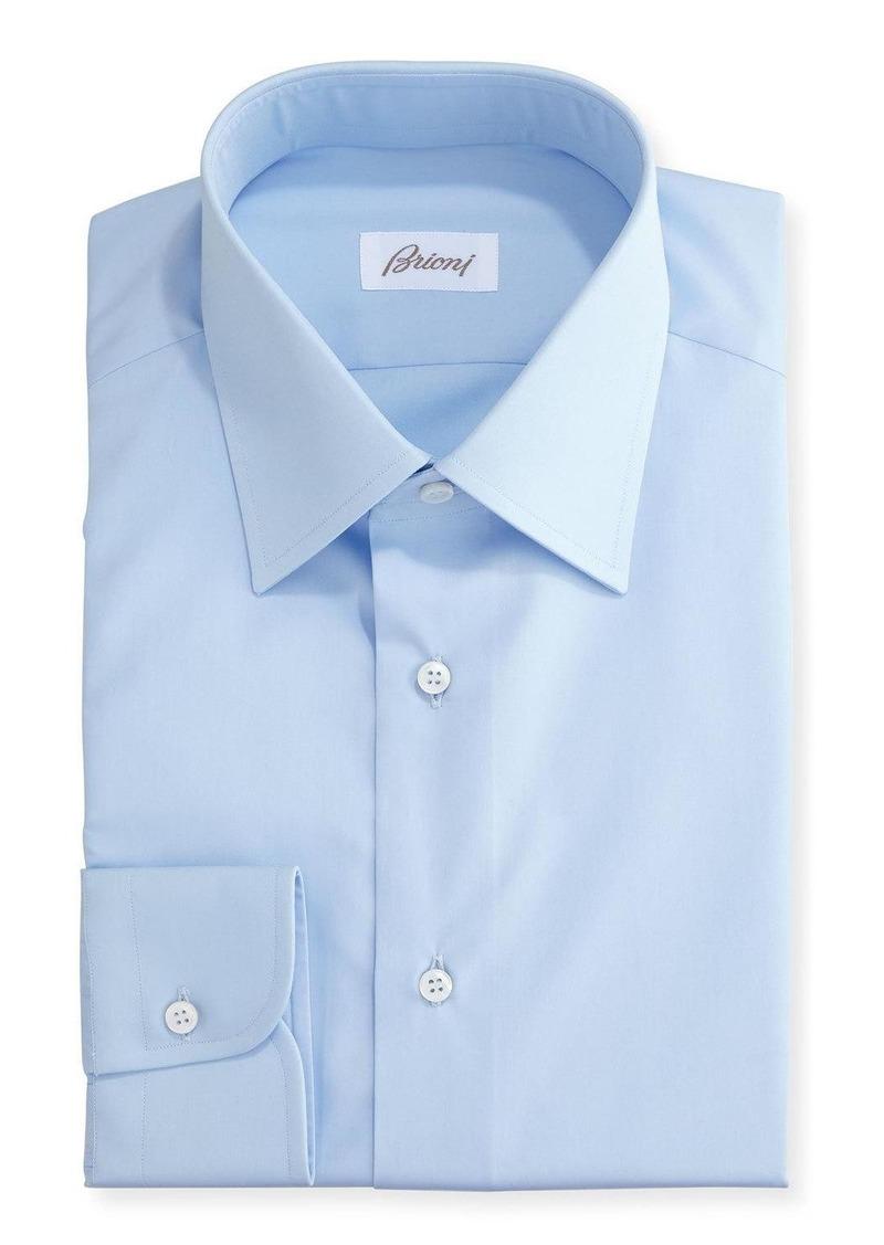 Brioni Wardrobe Essential Solid Dress Shirt  Blue