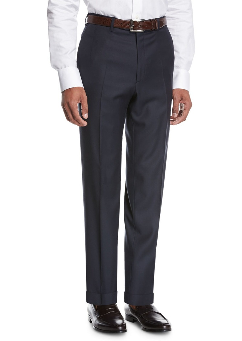 Brioni Wool Flat-Front Trousers  Navy