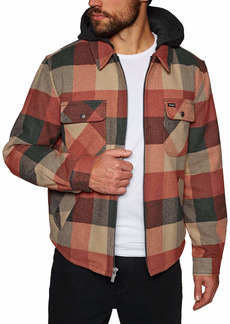 Brixton Men's Bowery Relaxed Fit Flannel Jacket Black/red XL