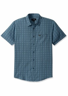 Brixton Men's Charter Plaid Standard FIT Short Sleeve Woven Shirt  L