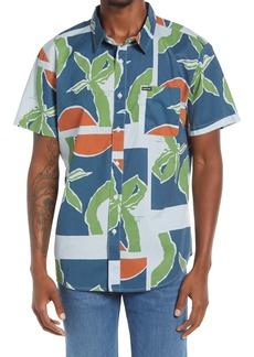 Men's Brixton Charter Regular Fit Tropical Short Sleeve Button-Up Shirt