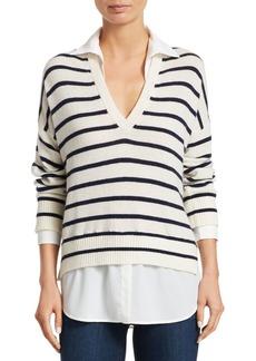 Scripted Stripe Knit V-Neck Sweater