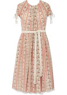 Brock Collection Belted Floral-print Silk-georgette Dress
