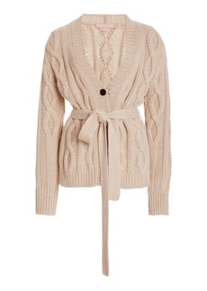 Brock Collection - Women's Replenish Belted Cashmere Cardigan - Neutral/black - Moda Operandi